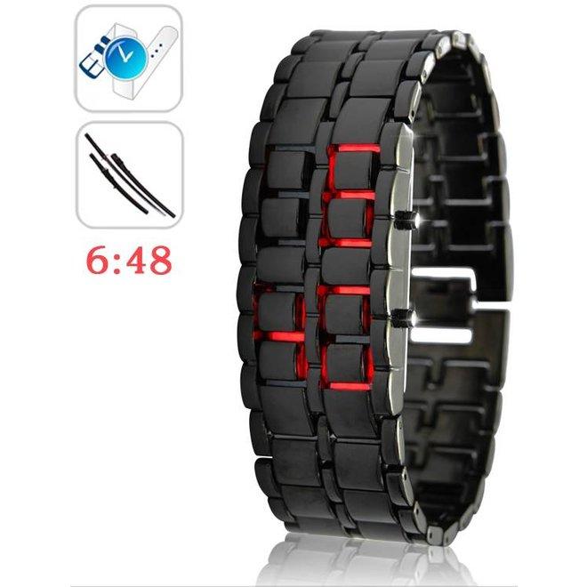 Digitale Red LED Iron Samurai Design Horloge Black