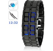 Merkloos Digitale Blue LED Samurai Design Horloge Black