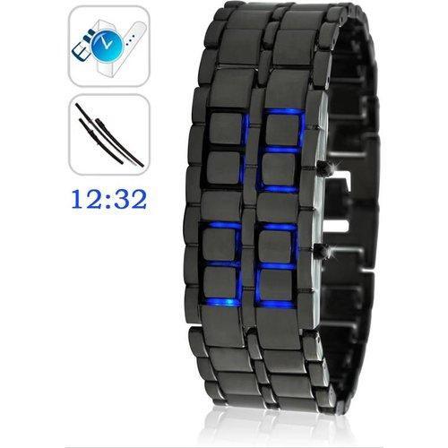 Merkloos Digitale Blue LED Samurai Design Horloge Black