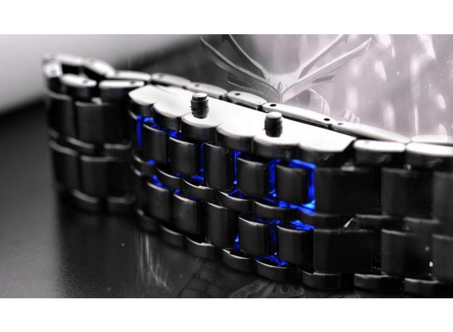 Digitale Blue LED Samurai Design Horloge Black