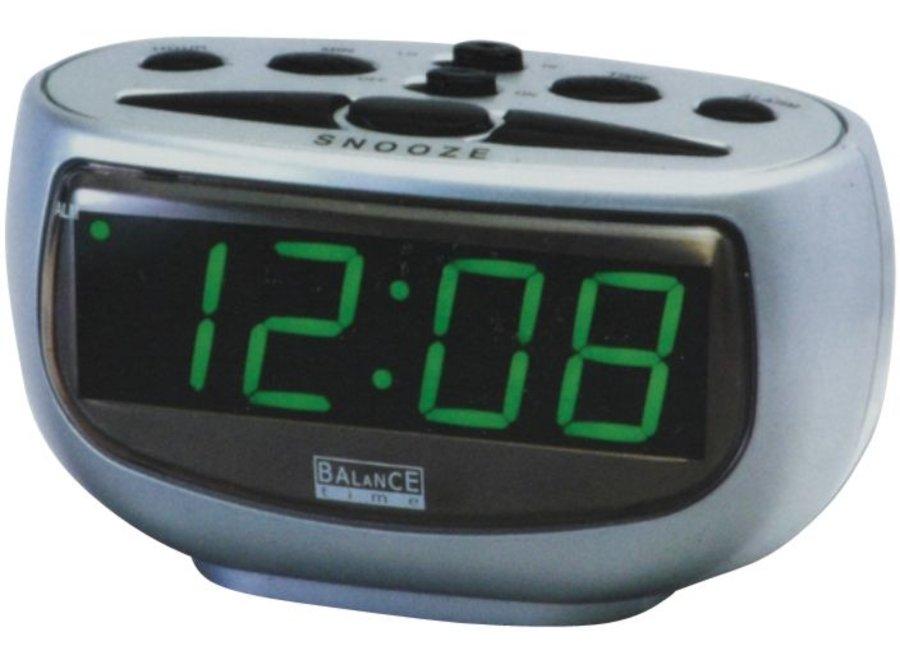 Balance Time Green LED Display Wekker Silver