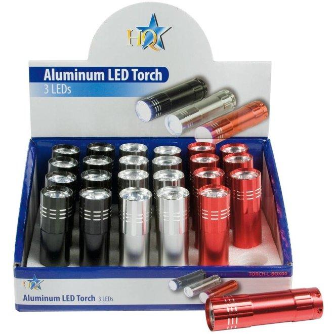 HQ Toonbankdisplay met 3 LED's 24 stuks Aluminium Zaklampen