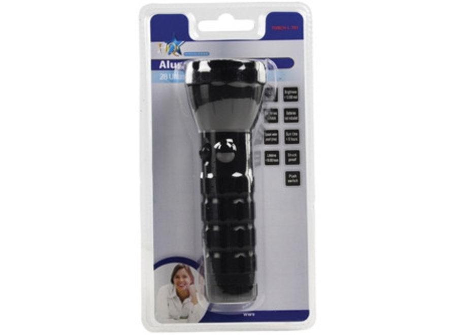 HQ Ultra Heldere Waterdichte Aluminium 28 LED's Zaklamp Black