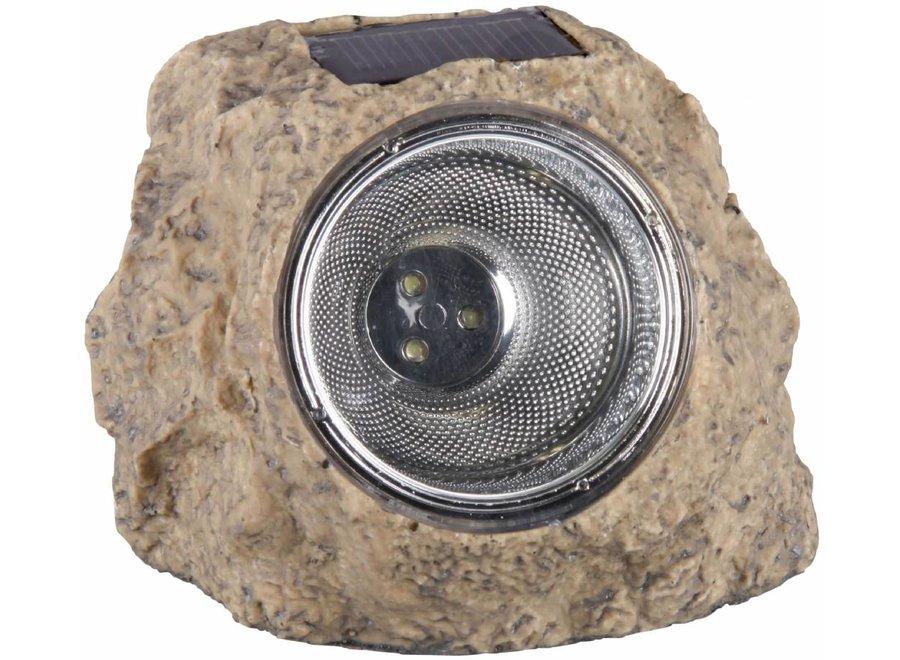 Ranex Solar 3 LED's Kunststof Steenlamp Naxos Grey