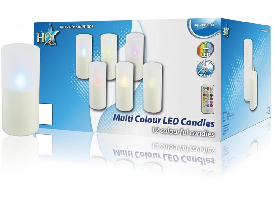 HQ LED Multicolour Kaarsen White + Afstandsbediening