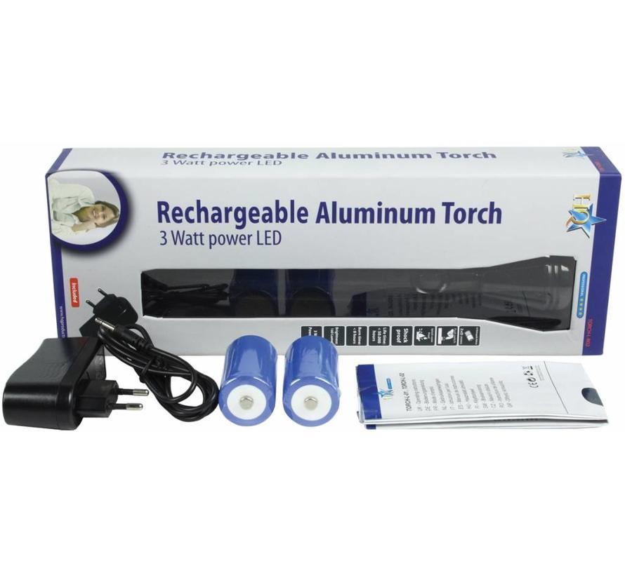 HQ Oplaadbare 3 W CREE Power LED Zaklamp Aluminium Black