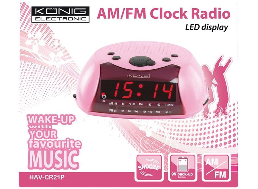 Konig Red LED AM/FM Wekkerradio Pink met Speaker