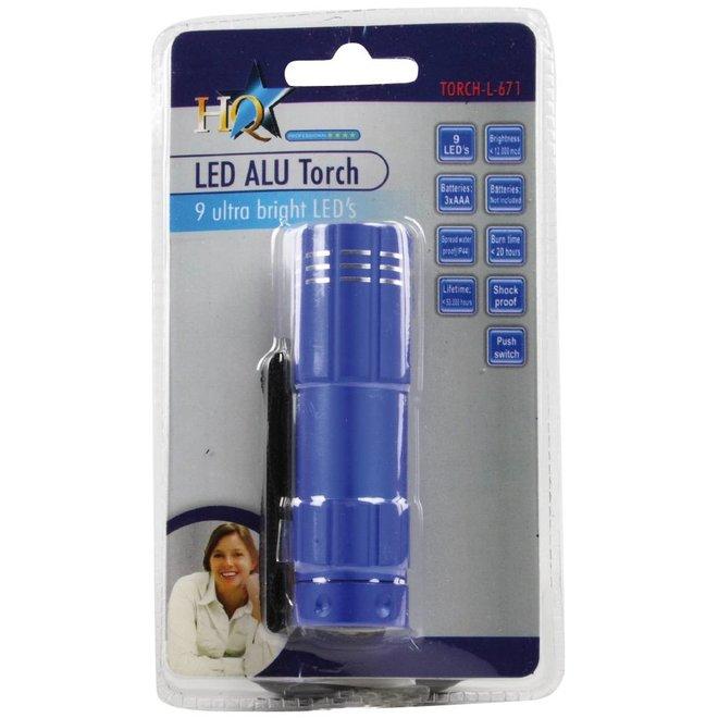 HQ Ultra Heldere Waterdichte Aluminium 9 LED's Zaklamp Blue