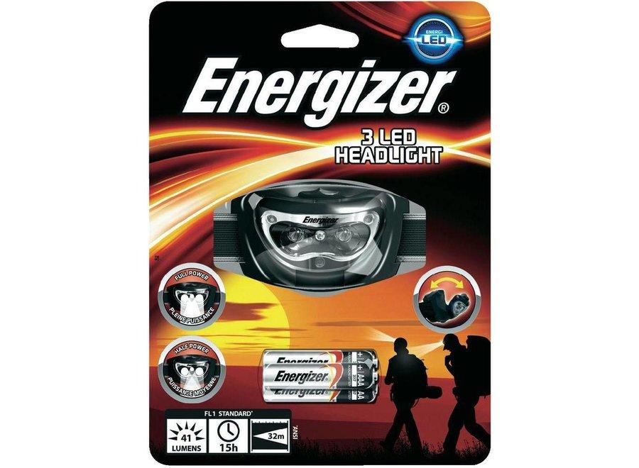 Energizer 3 LED's Hoofdlamp Black + 3 x AAA Batterijen