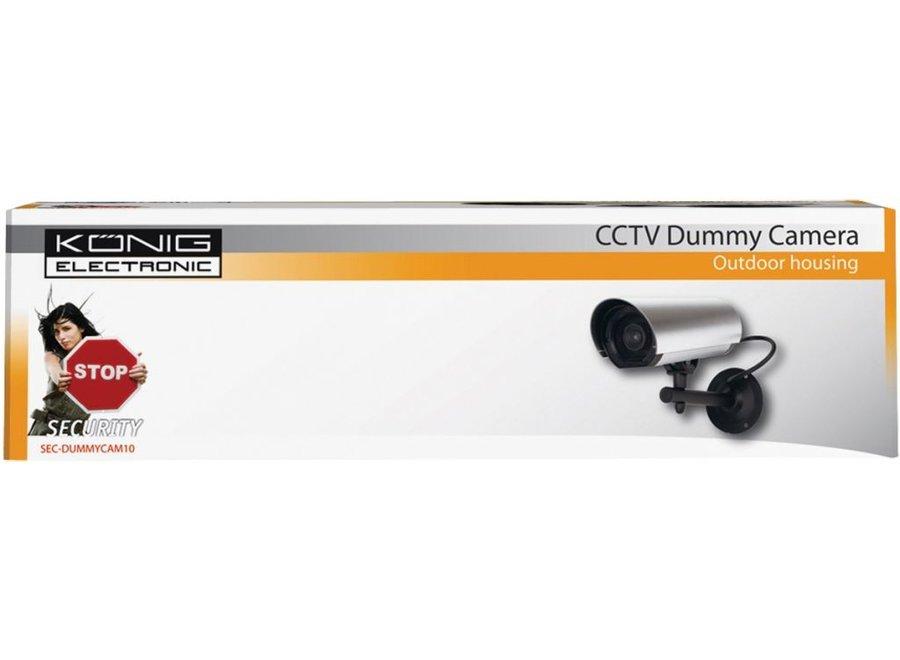 König CCTV Dummy Buitencamera met IR LED en Ophangbeugel Silver