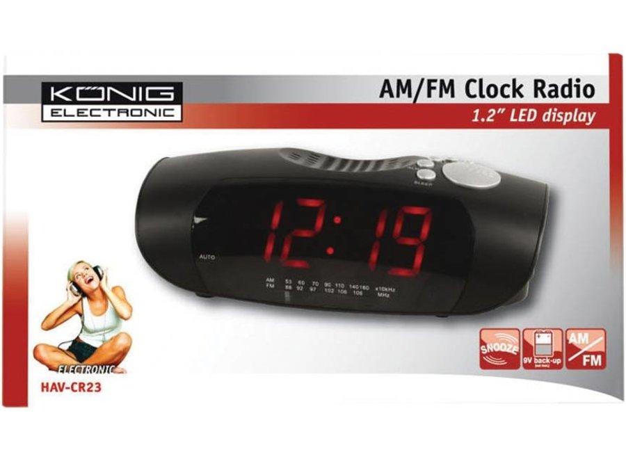Konig Red LED AM/FM Wekkerradio Black