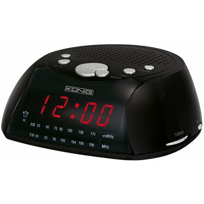 Konig Red LED AM/FM Wekkerradio Black met Speaker