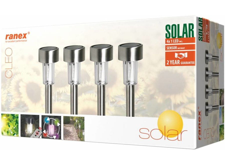 Ranex Cleo RGB LED Solar 4-Set Tuinlampen