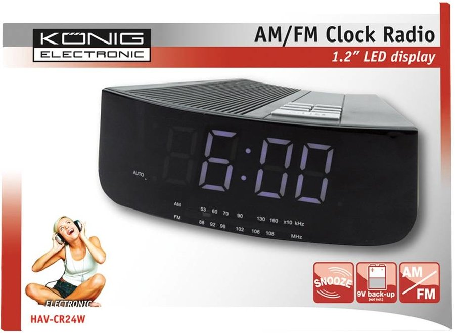 König White LED AM/FM Wekkerradio Black