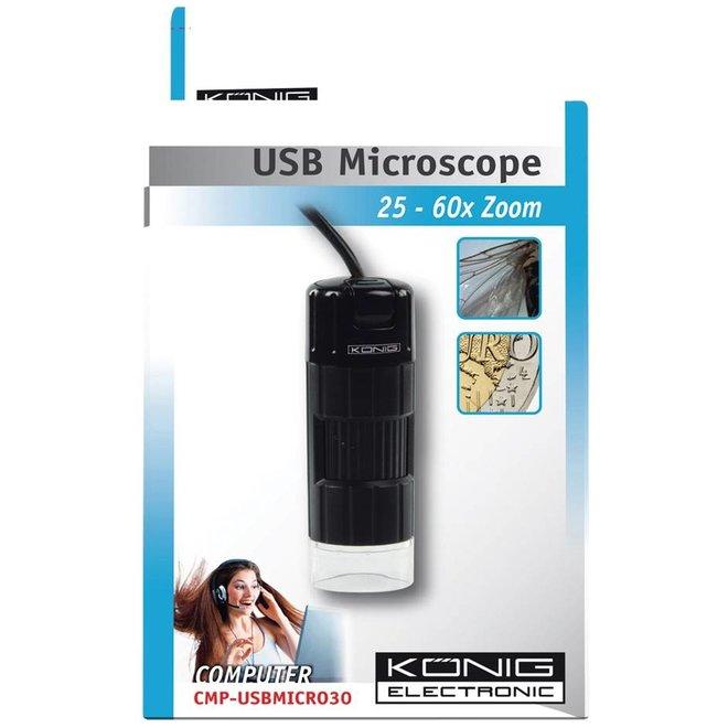 König 4 LED's USB 2.0 Digitale Microscoop Black