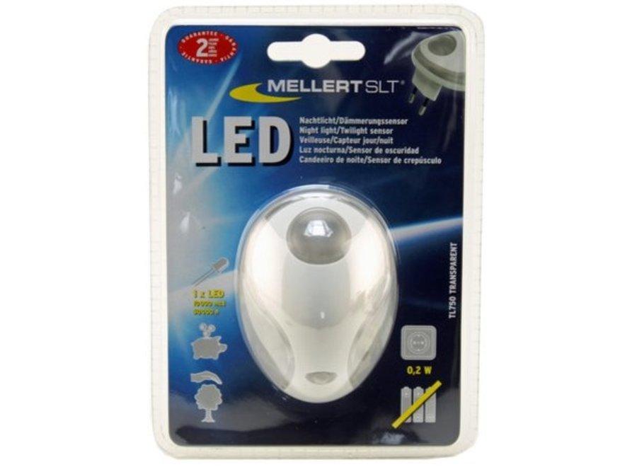 Mellert LED Nachtlicht met Schemersensor Transparant