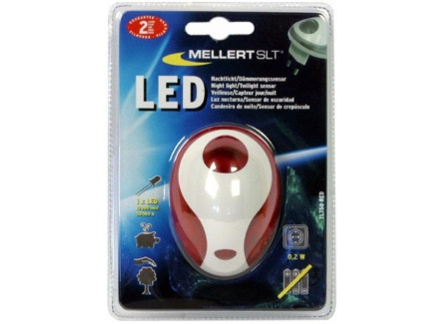 Mellert LED Nachtlicht met Schemersensor Red
