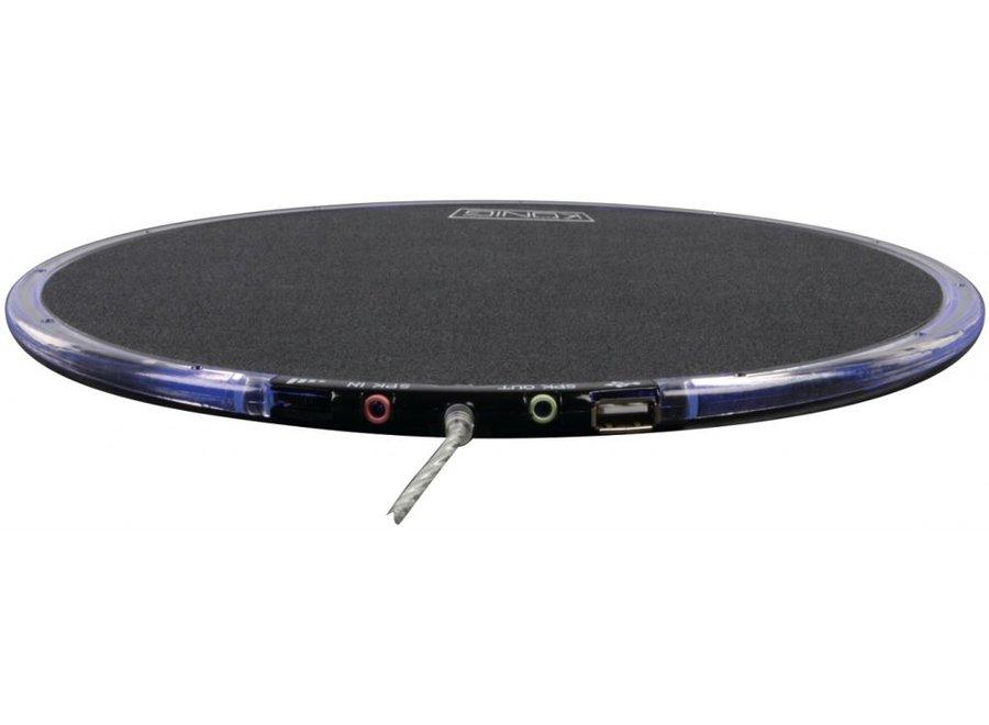 Konig LED Muismat met USB Hub en Speaker Black
