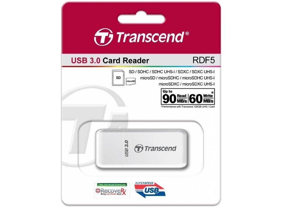 Transcend LED RDF5 Card Reader USB 3.0 White