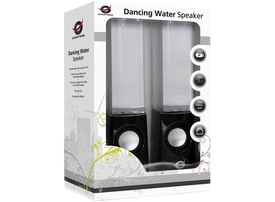 Conceptronic CLLDWASPKB Dancing Water LED Speakers - Black