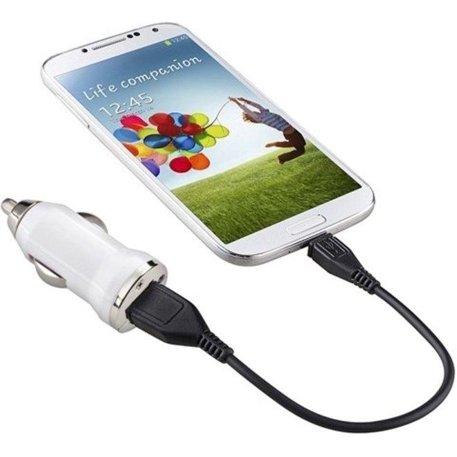 Universele LED USB Mini Autolader / Car Charger Adapter White