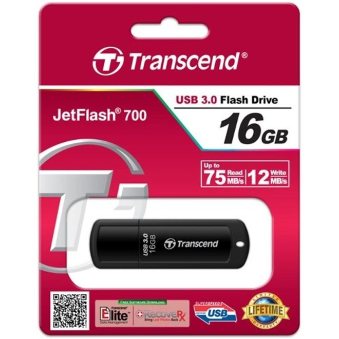 Transcend JetFlash 700 16 GB LED USB 3.0 SuperSpeed Black