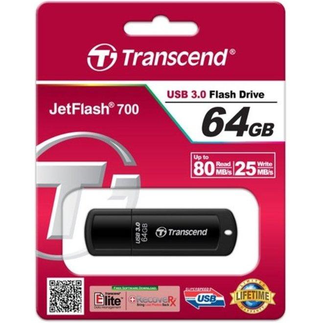 Transcend JetFlash 700 64 GB LED USB 3.0 SuperSpeed Black