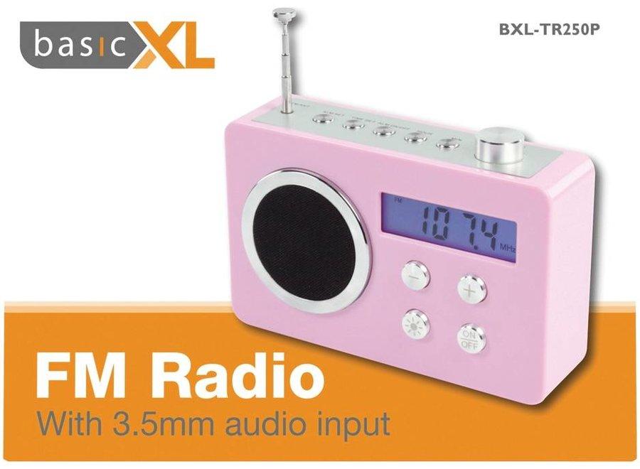 BasicXL Draagbare FM Radio Pink