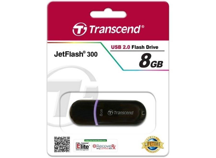 Transcend JetFlash 300 8 GB LED USB 2.0 Black/Violet
