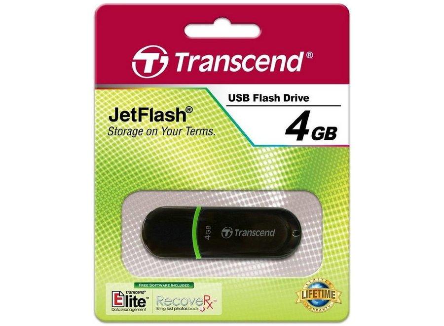 Transcend JetFlash 300 4 GB LED USB 2.0 Black/Green