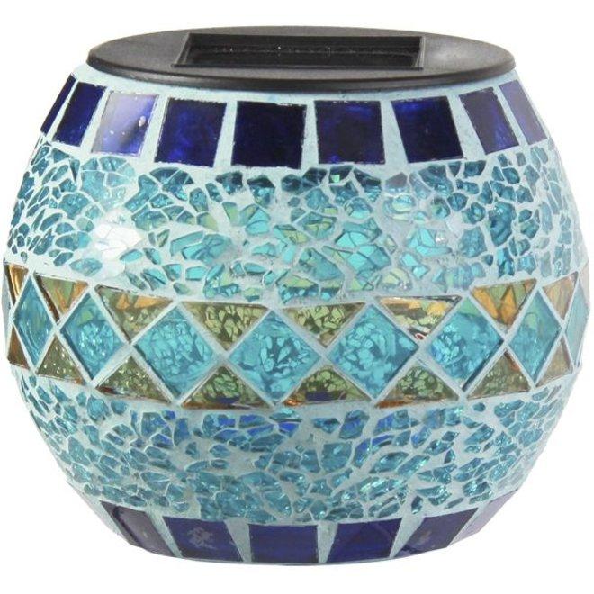 Ranex Solar LED Glazen Pot Mozaïk Blue