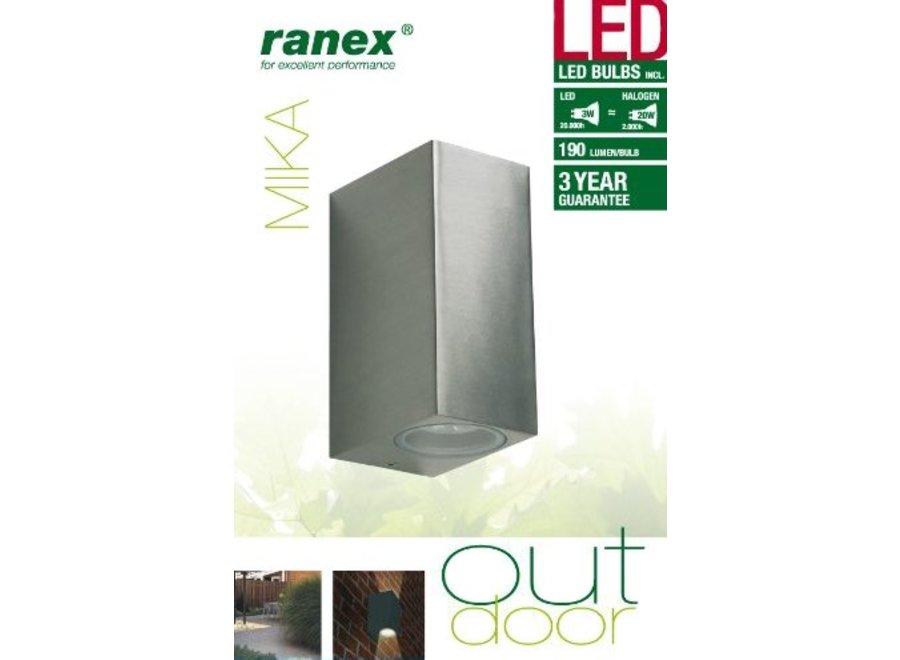 Ranex Mika SMD 2 x 3 W LED Wandlamp Aluminium - Glas