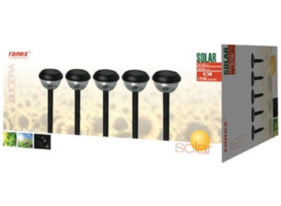 Ranex Lucera Solar LED Tuinlamp op Spies 5 Set Black