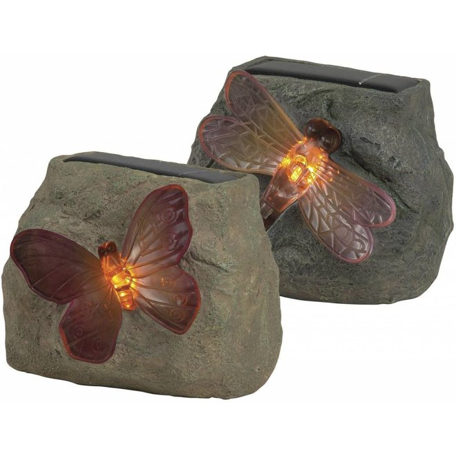 Ranex Butterfly Solar LED Steen Vlinder - Grey (2 stuks)