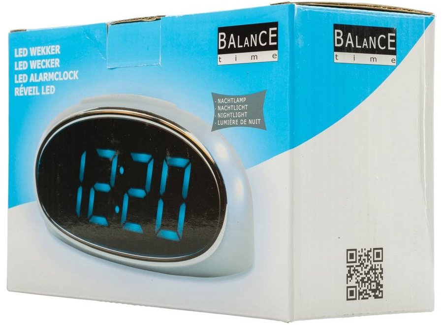 Balance Time Blue LED Wekker - Silver