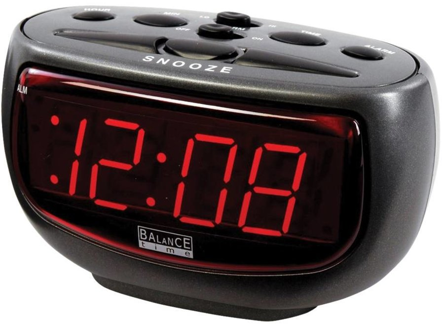 Balance Time Red LED Wekker - Antraciet