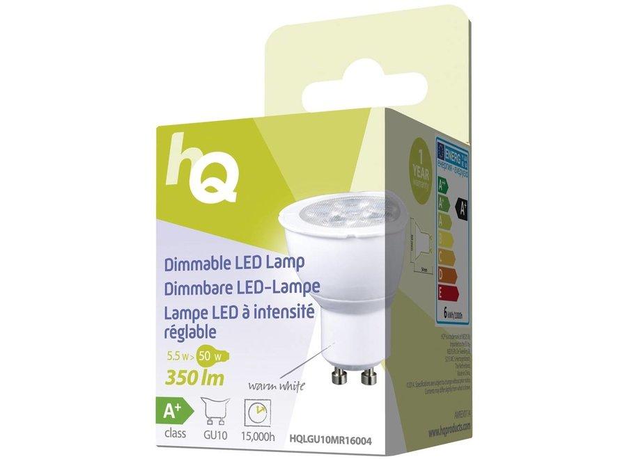 HQ GU10 LED Lamp MR16 Dimbaar 5,5 W (50 W) - Warm White