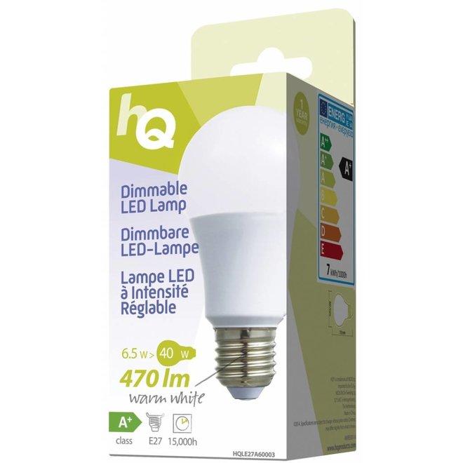 HQ E27 LED Lamp A60 Dimbaar 6,5 W (40 W) - Warm White