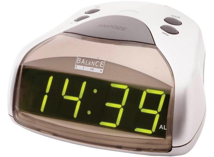 Balance Time Green LED Wekker - Silver