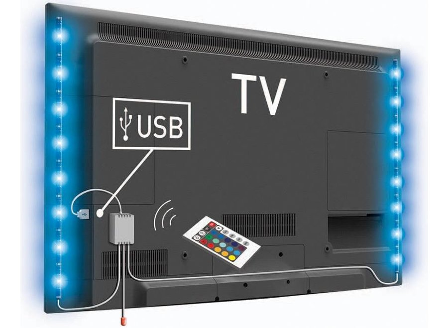 Konig USB LED TV-strip 2-set 50 CM - RGB met Afstandbediening