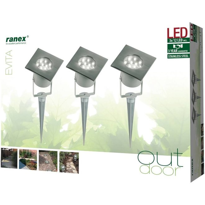 Ranex Evita LED Grondpot 3-set - Grey