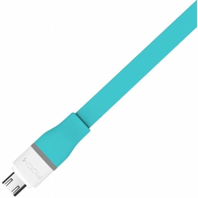 Rock Flat Data LED Kabel Auto-Disconnect Micro-USB - Turquoise