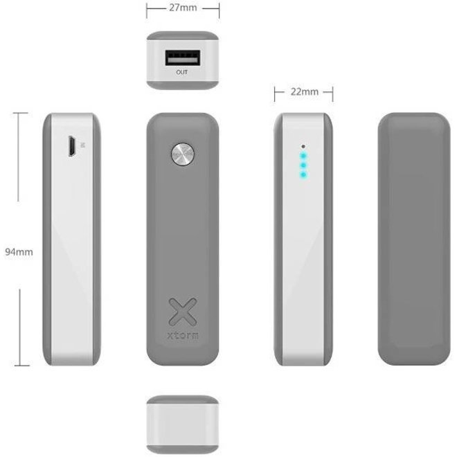 Xtorm LED Powerbank Move 2600 mAh - Antraciet