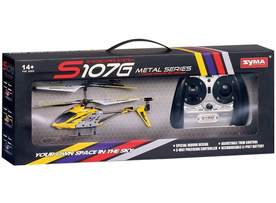 Syma S107G 3-Channel RC Mini LED Helicopter - Yellow
