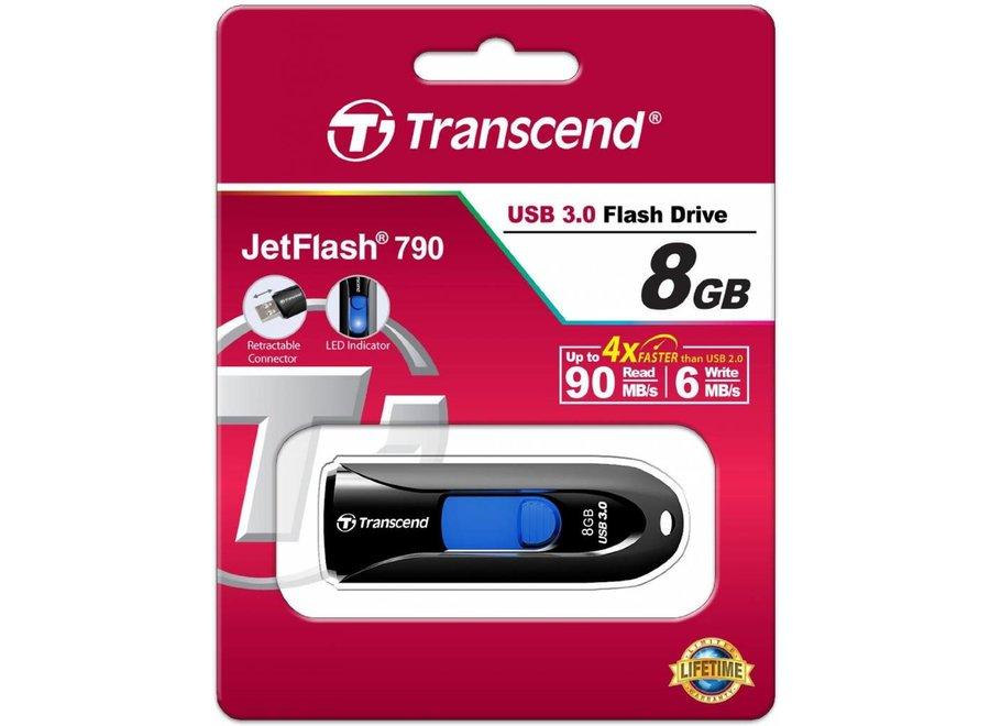 Transcend JetFlash 790K 8GB LED USB 3.0 - Black