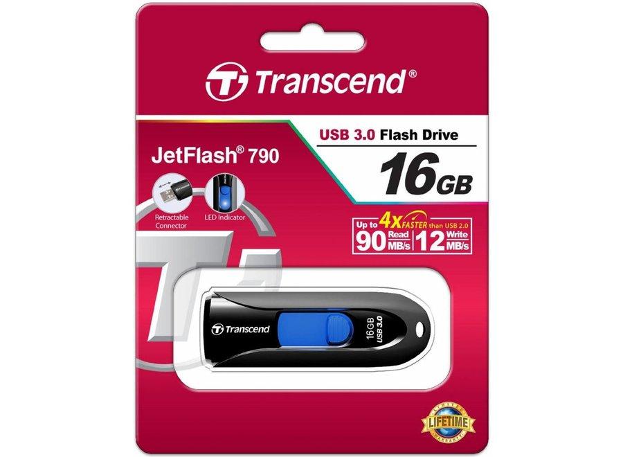 Transcend JetFlash 790K 16GB LED USB 3.0 - Black