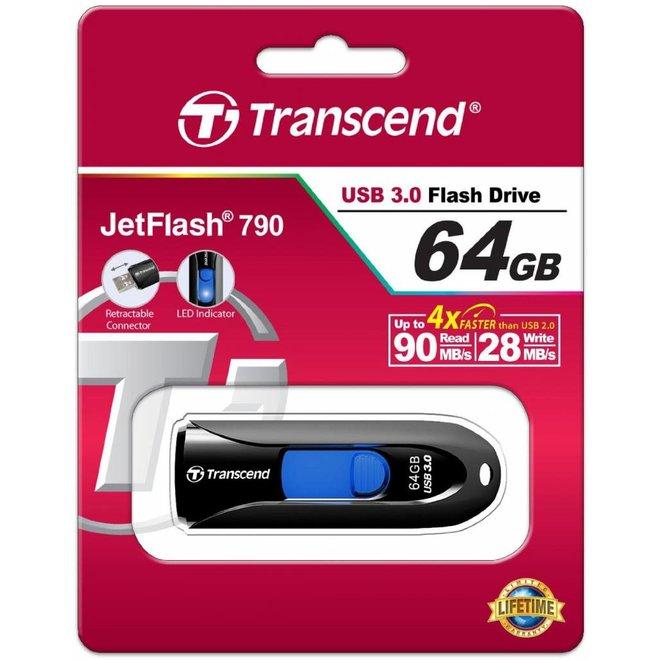Transcend JetFlash 790K 64GB LED USB 3.0 - Black