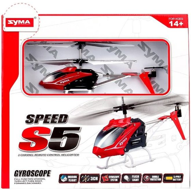 Syma S5 Speed 3-Channel RC Mini LED Helicopter - Red