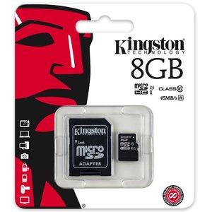 Kingston Kingston MicroSDHC  8GB Geheugenkaart + Adapter - Class 10
