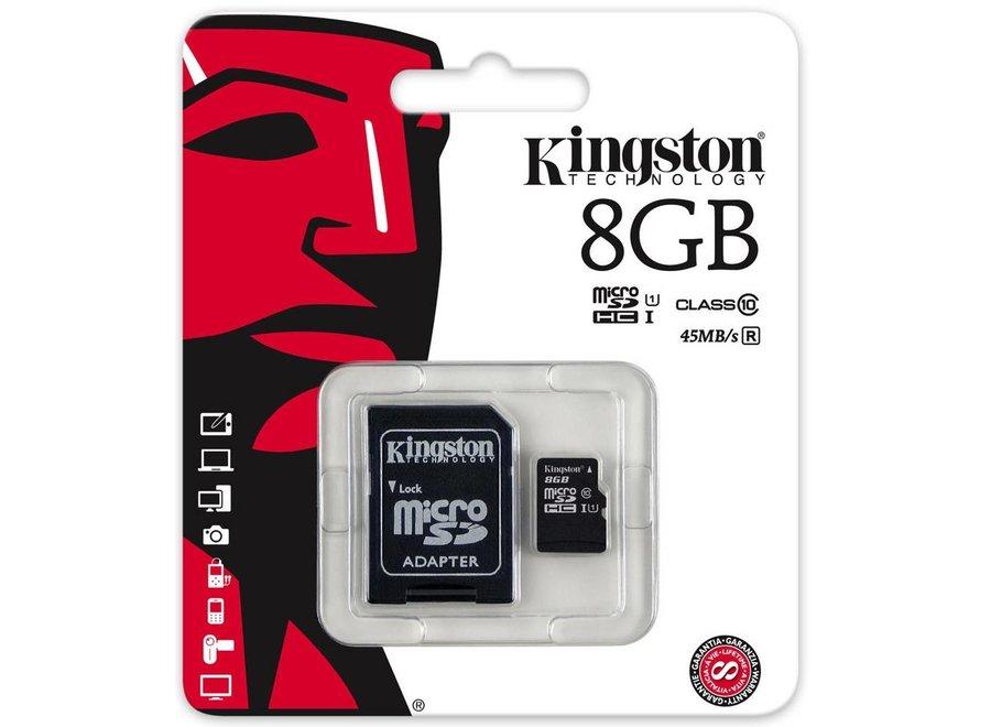 Kingston MicroSDHC  8GB Geheugenkaart + Adapter - Class 10